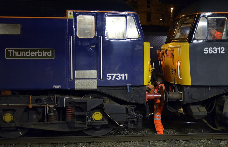 57311 Thunderbird & 56312 Jeremiah Dixon, Lancaster, Thurs 2 January 2013 - 1946.  Coupling up.