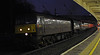 47500 & 34067 Tangmere, 5Z57, Lancaster, Thurs 3 January 2013 - 1628.  WCRC's Southall - Carnforth stock move, about to stop for signals.  14 coaches were in tow, reported as 35518, 4905, 99723, 99318, 1860, 3093, 99348, 99350, 99121, 99712, 99125, 99127, 4951 & 4994.