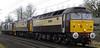 47790 Galloway Princess, 47832 Solway Princess, 37218 & 37609, Carnforth, Fri 4 January 2013 - 1151.  A Gresty Bridge - Kingmoor move.