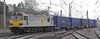 92041 Vaughan Williams, 4Z25, Carnforth, Fri 25 January 2012 - 1126.  A (Hams Hall - ) Arpley - Mossend intermodal pulls out of the loop as snow falls.