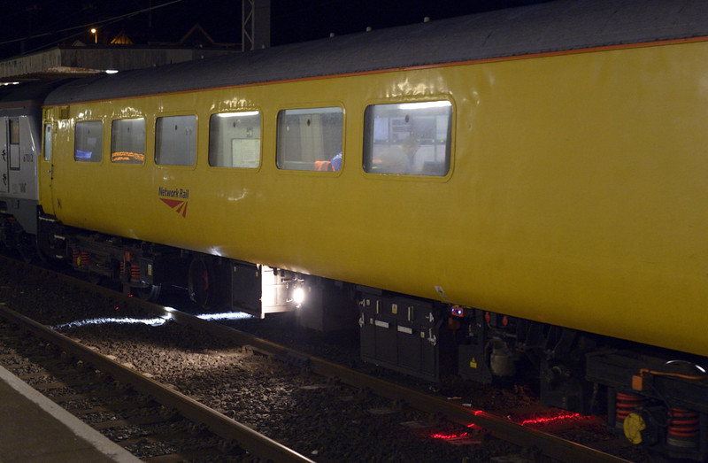 67027 & 67012 A Shropshire Lad, 1Q17, Carnforth, Sat 10 January 2015 2.  A close--up of plain line pattern recognition coach 5981 at work.