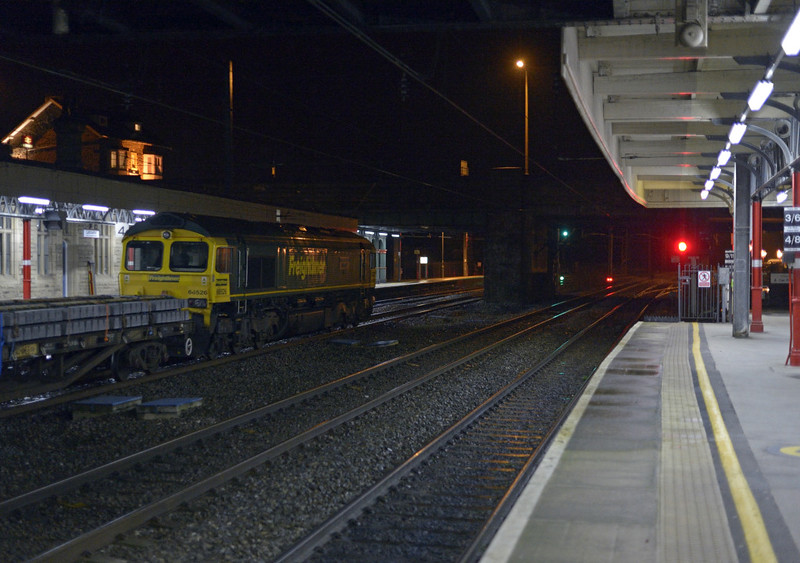 66526 Driver Steve Dunn (George) & 66564, 6Y65, Lancaster, Sat 10 January 2015 - 2137 1.  Freightliner's 1944 Carlisle yard - Garstang PW.  The consist was reported as 996661, 996439, 996929, 29465, 503566, 503118, 29241, 503508, 29400, 29377 & 29227.  The train weighed 776 tonnes and ran through to Basford Hall on the 11th.