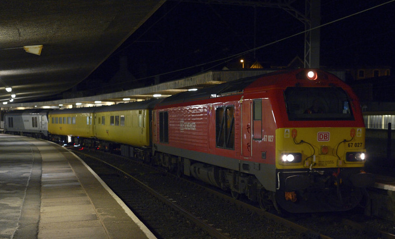 67027 & 67012 A Shropshire Lad, 1Q17, Carnforth, Sat 10 January 2015 1 - 1832.  The Network Rail test train arrives from Barrow.  It had worked from Derby to Carlisle via Settle, then to Carnforth, and then continued to Heaton via Carlisle.  The two coaches were radio survey coach 977997 & plain line pattern recognition (PLPR) coach 5981.  This was the first time a PLPR coach had visited the coast.