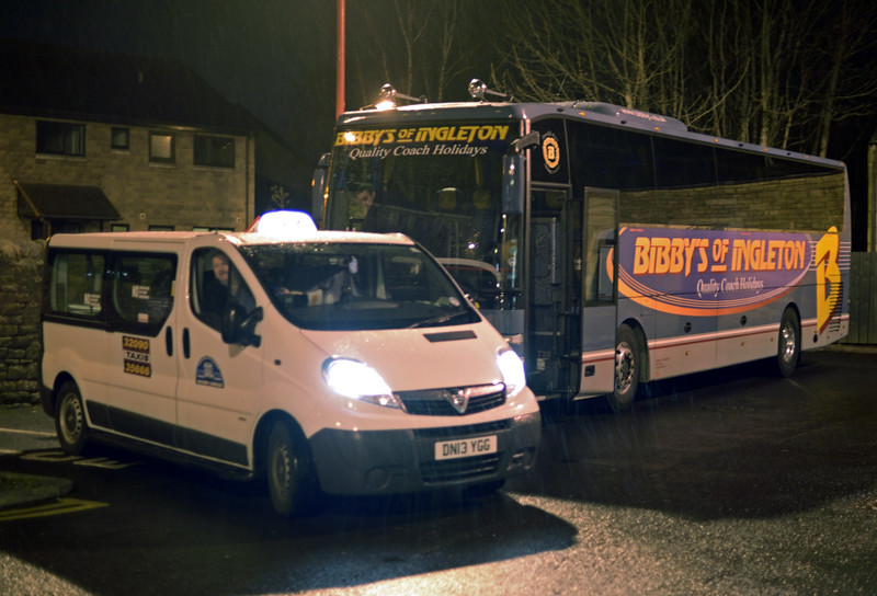 First TransPennine Express rail replacement coach, Lancaster, Sat 10 January 2015 - 2138.  FTPE's 2245 Lancaster - Preston bus was due at Preston at 2325.  FTPE's 2140 Windermere - Preston bus was booked to call at Staveley 2155, Burneside 2205, Kendal 2210, Oxenholme 2225, Lancaster 2310 and Preston 0001.  Replacement buses were booked to leave Preston at 2210 and 2305, due Lancaster 2300 and 2355.  Trains to Morecambe and Barrow ran as normal.
