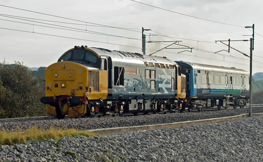 37401 Mary Queen of Scots, 5Z10, Carnforth, Tues 25 October 2016 - 1507.  DRS's 1544 Carnforth goods loop - Kingmoor test run.  The loco and unidentified DBSO had left Kingmoor at 1145 and run via the coast (5Z37).