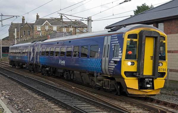 158786, 5M99, Carnforth, Thurs 2 February 2017 - 1442.  ScotRail's 1000 Haymarket - Wabtec Loughborough move.  158782 had run from Loughborough to Haymarket via Carnforth the previous day.