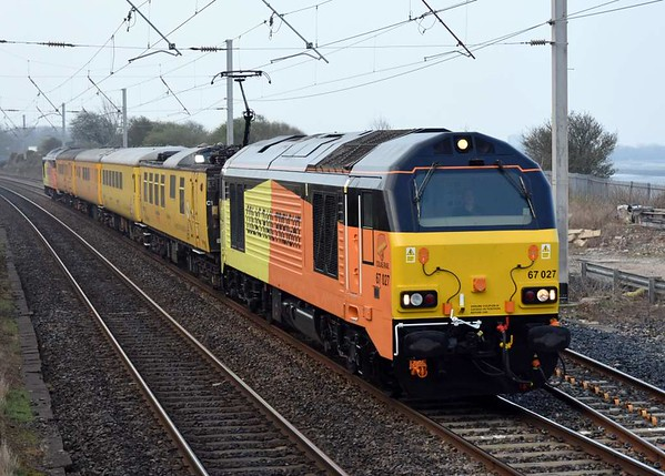 67027 & 67023, 1Q26, Hest Bank, Tues 28 March 2017 - 0856 1.  The Colas Skips make their debut on the northern WCML with the 0612 Derby - Glasgow - Edinburgh test train. It then ran to Craigentinny via Aberdeen,
