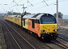 67027 & 67023, 1Q26, Hest Bank, Tues 28 March 2017 - 0856 1.  The Colas Skips make their debut on the northern WCML with the 0612 Derby - Glasgow - Edinburgh test train.