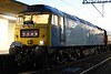 47270 Swift, 1Z27, Carnforth, Sat 22 April 2017 - 0523.  The rarely seen 47 awaits departure to Holyhead with the Branch Line Society's Triongl Gogledd Cymru. The portable lamp replaced the defective headlight.  The nine coaches were 99722, 99304, 3143 Patricia, 99128 Pamela, 99318, 5032, 4940, 4994 & 5035.  47580 was on the rear.