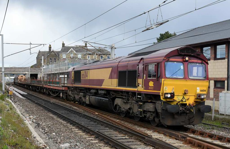 66014, 6Z16, Carnforth, Tues 25 April 2017 - 1550.  DB Cargo's 1400 (approx) Carlisle yard - Newport Alexandra Dock Junction (?) steel empties. This train started as MO 1824 Mossend - Cardiff Tidal, but had been terminated at Carlisle because of the WCML blockage at Garstang.