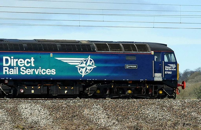 57002 Rail Express & DBSO 9710, 5Z30, Carnforth, Tues 4 April 2017 - 1334 2.  57002 inherited the plates previously carried by 47853 when it was repainted in December 2016.