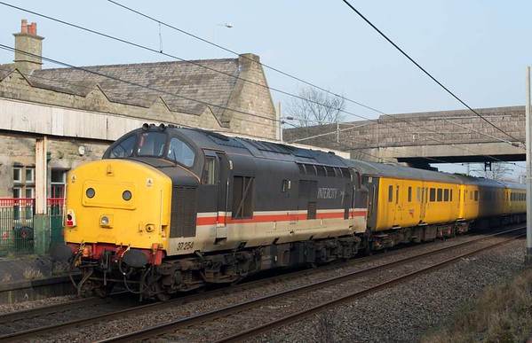 37116 & 37254, 1Q82, Carnforth, Thurs 26 January 2017 2.  The train subsequently ran from Carlisle (1642) to Blackpool North (0551) via the Dalton loop to Ulverston (reverse), Barrow, Askam (reverse), Barrow, Carnforth goods loop, Windermere, Morecambe, Lancaster, Bolton, Brewery Junction (reverse), Bolton, Preston, Blackpool South and Preston.