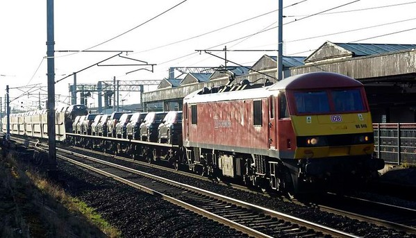 90040, 6X52, Carnforth, Wed 25 January 2017 - 1442.  DB Cargo's 1330 Warrington Arpley - Mossend cars. The train had originated at Portbury, left 123 late at 1936 on the 24th, but had been cancelled at Arpley.