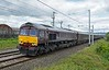 66746, 5Z88, Carnforth, Fri 14 July 2017 - 1606.  GBRf's 1150 Craigentinny - Steamtown move arrives with the Royal Scotsman rake.  The 10 coaches were service car 99969, state car 5 99968, state car 4 99964, state car 3 99963, state car 2 99962, state car 1 99961, spa car 99937, dining car 2 99960, dining car 1 99967 & observation car 99965. After spending the weekend at Steamtown where the coaches received attention, 66743 took them back to Craigentinny early on the 17th.