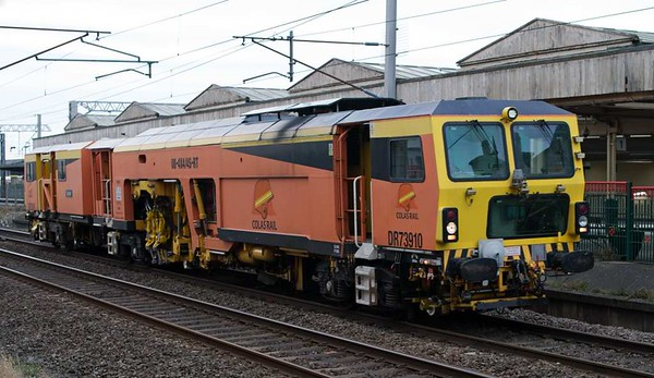 DR 73910 Jupiter, Carnforth, Fri 10 February 2017 - 1549.  Colas's Plasser & Theurer 08-4x4/4S-RT tamper returns from Lancaster to Oxenholme after turning on the Hest Bank - Bare Lane - Morecambe South triangle.  The Upperby triangle at Carlisle is also used for turning track machines, which can often work in only one direction.