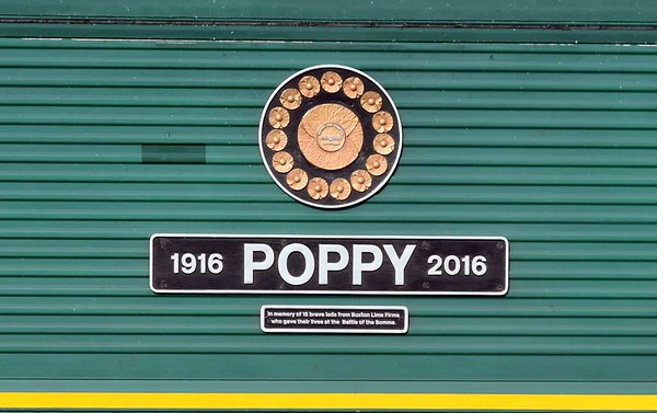 "66614 Poppy 1916 - 2016, 6H51, Beckfoot, Tues 21 March 2017 2.  ""In memory of 15 brave lads from Buxton Lime Firms who gave their lives at the Battle of the Somme."""