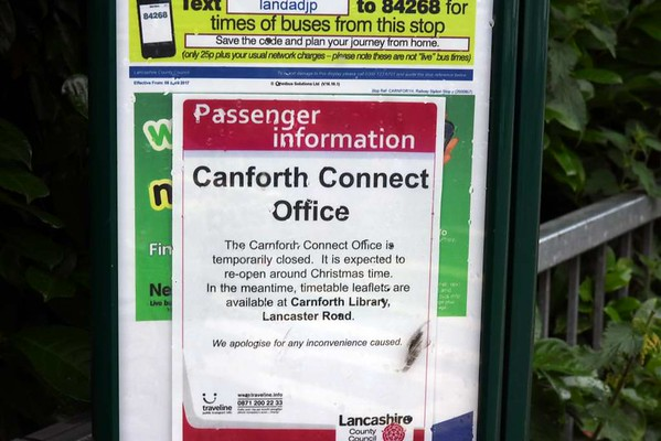 Carnforth Connect office closure, Fri 23 June 2017.  Closed since mid March when the station building in which it is situated was closed because a parapet wall was bulging.