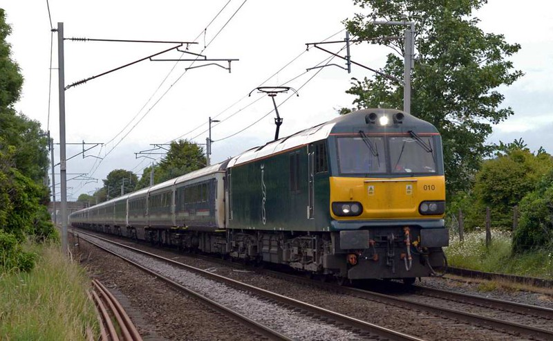 92010, 1M16, Carnforth, Fri 16 June 2017 - 0543.  The Inverness / Fort William / Aberdeen - Euston Caledonian Sleeper, running 94 late after being delayed for reasons unknown just after leaving Edinburgh.  At the time of this photo, GBRf 92s were working three sleepers, with a Freightliner 90 working the fourth.