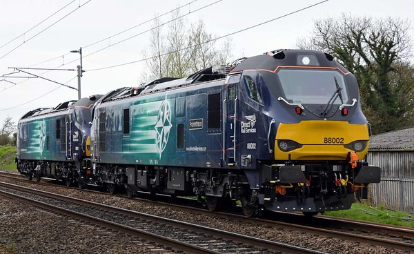 88002 Prometheus & 88001 Revolution, 0Z89, Carnforth, Tues 11 April 2017 - 1230.  The 88s return to Kingmoor from Crewe with 88002 and possibly 88001 in diesel mode.  Remarkably, they had passed Lancaster in electric mode.  They ran to Kingmoor as diesel(s).