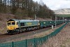 66614 Poppy 1916 - 2016, 6H51, Beckfoot, Tues 21 March 2017 1 - 1116.  Freightliner's 0935 Hardendale - Tunstead empty boxes slowly enters Grayrigg loop.