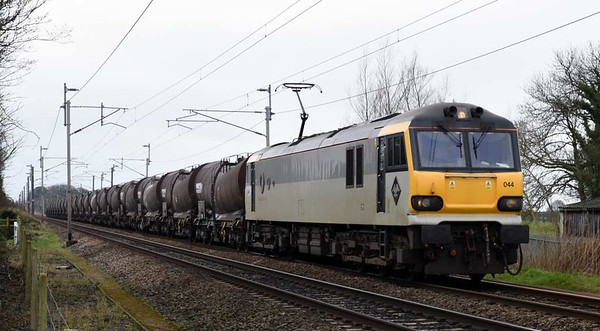 92044 Couperin, 6S94, Carnforth, Wed 8 March 2017 - 1044.  The most elusive of the operational 92s heads GBRf's 0203 Dollands Moor - Irvine clay.  The train was worked from Carlisle yard by 66740.