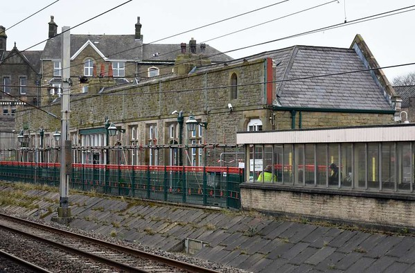 Carnforth station building, Sat 11 March 2017 1.  The building has been temporarily closed because the parapet wall seen here was bulging.