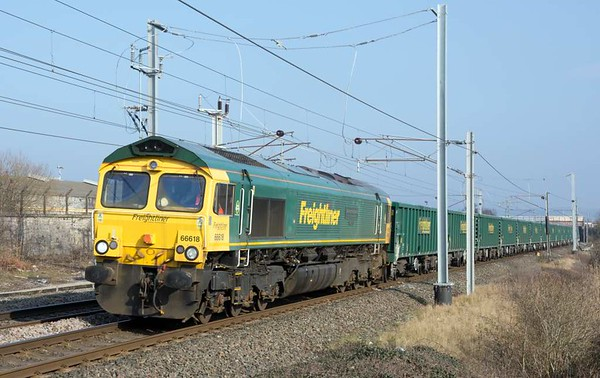 66618 Railways Illustrated Annual Photographic Awards Alan Barnes, 6H51, Carnforth, Tues 14 February 2017 - 1214.  Freightliner's 0935 Hardendale - Tunstead empty MWA hoppers.