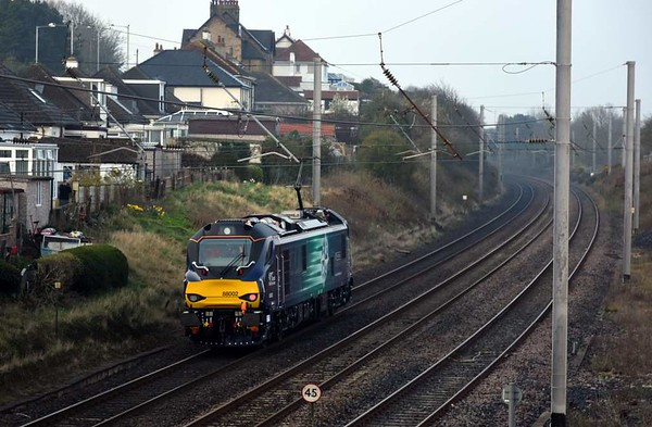 88002 Prometheus, 0Z88, Hest Bank, Tues 28 March 2017 - 0841.  The 88 heads south on a second day of testing from Kingmoor to Crewe and back.  These tests continued all week.  It ran in electric mode except when leaving and returning to the Kingmoor depot, and at Edge Hill (return only).  It can switch from electric to diesel mode and vice versa on the move.