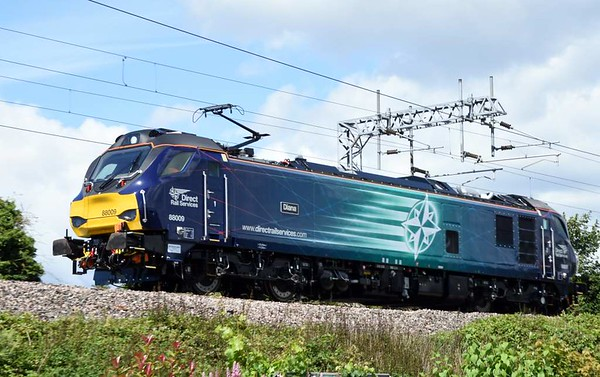 88009 Diana, 0Z88, Carnforth, Wed 12 July 2017 - 1359.  The lady makes her mainline debut on a move from Kingmoor to Gresty Bridge and back.  88010 made an identical debut the following day.