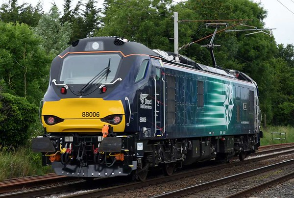 88006 Juno, 0Z89, Carnforth, Thurs 22 June 2017 - 1334.  Another class 88 debut, returning to Kingmoor from Crewe (1159).