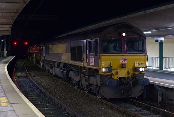 66002, 6L46, Carnforth, Wed 8 March 2017 - 2115.  DB Cargo's 1619 Basford Hall - Carnforth autoballasters.  It continued towards Settle Junction, and left Hellifield at 0515 for Basford Hall via Blackburn. There had been a 6L55 1606 Basford Hall - Settle Junction engineering train via Hellifield on the 7th, with 66133 & 66520 top and tail.  It had left Carnforth at 0520 on the 8th for Crewe.