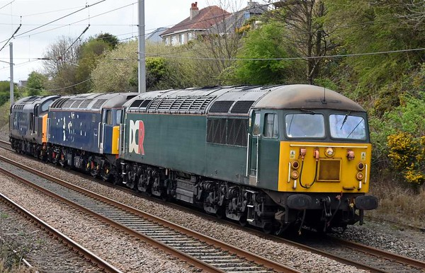 56303, 47813, 37601, 0M59, Hest Bank, Tues 11 April 2017 - 1705 1.  The Devon & Cornwall Grid makes a very rare appearance on the northern WCML, running from Carlisle High Wapping to Leicester with the former DRS locos just bought by by the Rail Operations Group.