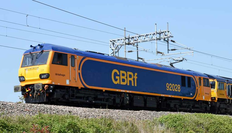 92028 & 66703 Doncaster PSB 1981 - 2002, 0Z93, Carnforth, Thurs 25 May 2017 - 1435.  GBRf's latest 92 returns to Crewe after a test run to Carlisle.  It had been released from Brush Loughborough on the 19th.