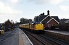 37116 & 37025 Inverness TMD, 1Q82, Lazonby & Kirkoswald, Thurs 23 March 2017 - 1625 1.  The test train returns from Appleby through the attractive Midland Railway station.  It comprised radio survey coach 977868, plain line pattern recognition coach 5981, overhead line inspection coach 977983 and generator van 6263.