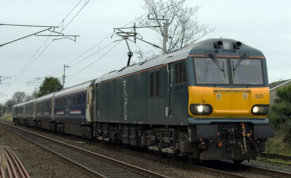 92023 & 92033 (DIT), 5Z94, Carnforth, Thurs 19 January 2017 - 1459.  GBRf's 1542 Carnforth - Crewe test run with 10690, 10614, 10693 & 10607.  This was the return leg of an 1102 Rugby - Carnforth goods loop test run for the two locos, which had been released from Wabtec Brush on the 17th.