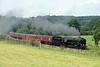 '98818' [35018 British India Line] & 47804, 5M50, Wennington, Thurs 6 July 2017 1 - 1305.  WCRC's 1000 Steamtown - Hellifield - Preston  test run.  The nine coaches were 80217, 99316, 1860, 4984, 4905, 99035, 5035, 99722 & 4973.