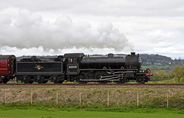 62005, 5M51, Capernwray, Mon 17 April 2017 - 1156 1. The K1 sets off on test to Hellifield and back.  The support coach was 80220.