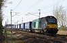 68002 Intrepid, 4S43, Carnforth, Mon 3 April 2017 - 1038.  The solo 68 heads DRS's 0616 Daventry - Mossend Tesco Express, running one hour late after 68023 had been detached at Crewe.