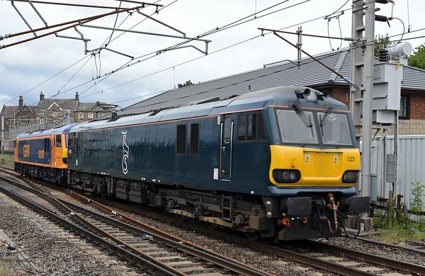 92023 & 92028, 0Z93, Carnforth, Thurs 22 June 2017 - 1406.  The GBRf duo return on another test run, this time Crewe - Carlisle and back.