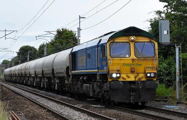 66623 Bill Bolsover, 6P62, Carnforth, Fri 14 July 2017 - 1932.  Freightliner's 1543 Carlisle Brunthill - Tunstead empty JGA cement tanks.
