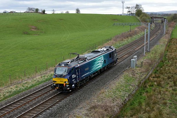 88002 Prometheus, 0Z89, Penrith, Wed 5 April 2017 - 1504.  The 88 returns to Kingmoor after another test run to Crewe, this time light engine..  On the way, it had rescued GBRf's 6S94 after 92032 failed while leaving Oxenholme down passenger loop.  88002 attached to the rear of the train, and pulled it back into the loop.