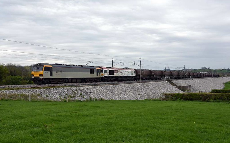 92044 Couperin & 66721 Harry Beck, 6S94, Carnforth, Wed 19 April 2017 - 1451 1.  GBRf's WO 0203 Dollands Moor - Irvine clay, running about four hours late. The 20 ICA tanks were reported as 8078980448, 8078980596, 8078980505, 8078981065, 8078980620, 8078980711, 8078981081, 8078980794, 8078980471, 8078980497, 8078980729,  8078980703, 8078980760, 8078980489, 8078980612, 8078980513, 8078980679, 8078981024, 8078980430 & 8078980554 with a total weight of 1749 tonnes.