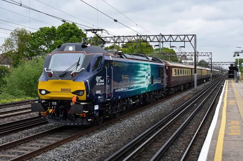 88002 Prometheus & 68022 Resolution, 1Z88, South Kenton, Tues 9 May 2017 - 0944 1.  DRS's electro-diesel makes its passenger debut on UK Railtours' 0932 Euston - Carlisle charter, using Northern Belle stock.  The train ran via Shap both ways behind the 88.