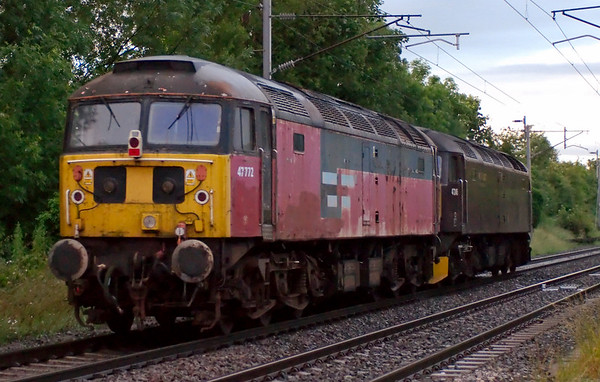 47245 & 47772, 0Z47, Carnforth, 26 June 2008 - 2118.    WCRC's latest acquisition arrives at Carnforth from Margam.