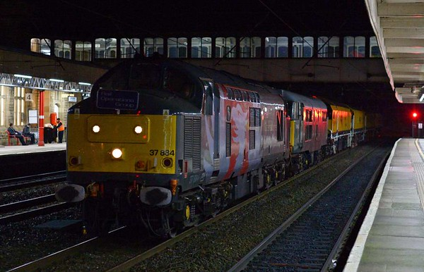 37884 & 31452, 4Z01, Lancaster Fri 24 February 2017 1 - 1916.  The Rail Operations Group's 1444 Derby - Carlisle Upperby move with Network Rail's new Loram CRG(01) corrective rail grinder DR 79304 - 79301.