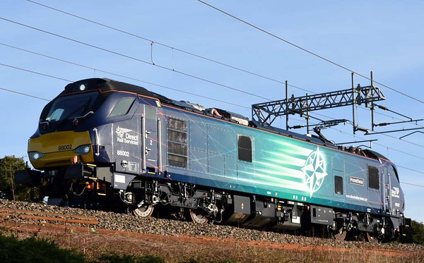 88002 Prometheus, 0Z88, Carnforth, Mon 27 March 2017 - 0815.  The first class 88 main line working heads from Kingmoor to Crewe in electric mode. It used diesel power at Kingmoor and at Edge Hill.