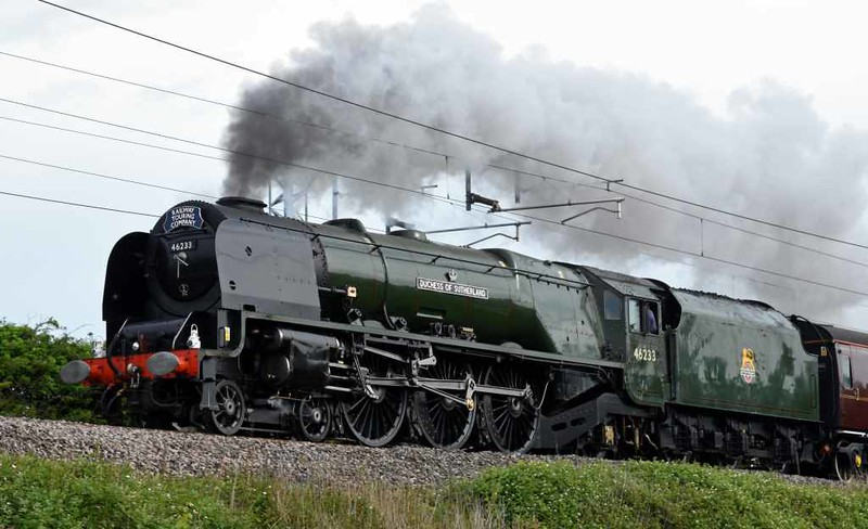 46233 Duchess of Sutherland, 5Z42, Carnforth, Sat 27 May 2017 - 0848.  The Duchess sets off from Steamtown for Hellifield via Preston with support coach 99041 to work the Railway Touring Co's 0610 Norwich - Carlisle Hadrian to Carlisle and back.  Afterwards, the Duchess ran light from Hellifield to Crewe heritage centre via Blackburn (5Z43).  The train was worked from Norwich to Hellifield and back by 57314 & 47760.  The 47 stayed on the rear to and back from Carlisle.