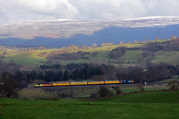 37025 Inverness TMD & 37116, 1Q82, Lazonby, Thurs 23 March 2017 - 1524 1. Colas Rail's 1510 Carlisle High Wapping - Blackpool North test train heads towards Appleby.  Apart from engineering trains, this was the first train to run on the northern Settle & Carlisle line since the Eden Brow landslip closed it on 9 February 2016.