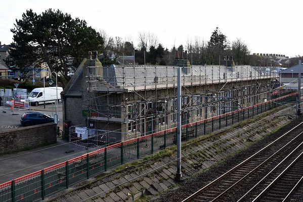 Carnforth station building, Wed 15 March 2017.  Most of the parapet wall has now been demolished.