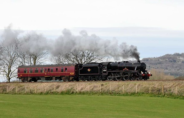 45231 The Sherwood Forester, 5M51, Capernwray, Mon 3 April 2017 - 1153 1.  The Black 5 sets off on test to Hellifield and back with 99312.  Now owned by Jeremy Hosking, it later left Carnforth Steamtown at 1909 for its new home at Crewe.  It ran as 5Z31.  45231 was previously owned by the late Bert Hichen and had been based at Steamtown for several years.